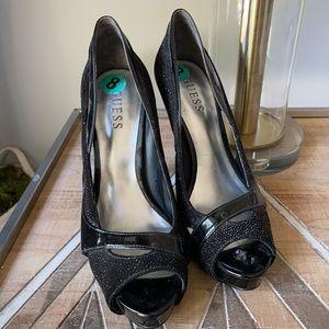Guess open toe black heels size 8